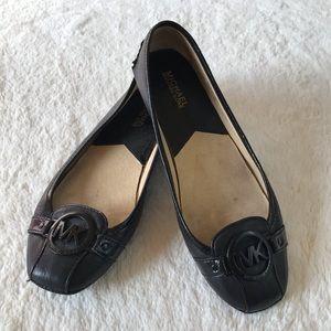 Michael Kors MK Fulton Black Leather Flats sz 8.5M